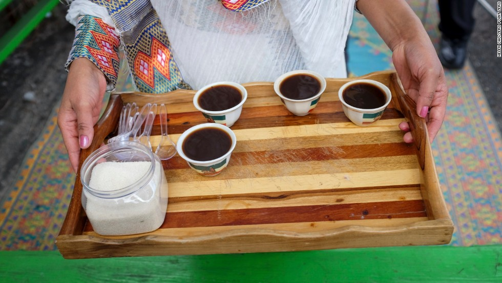 The final placement from the traditional Jamaican coffee roasting ceremony.