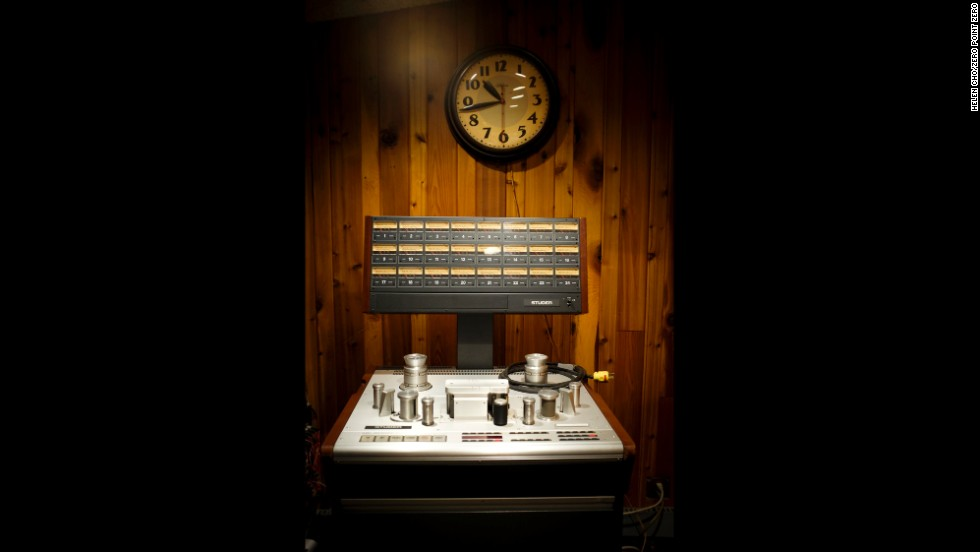 Vintage audio equipment inside the Sear Sound recording studio.