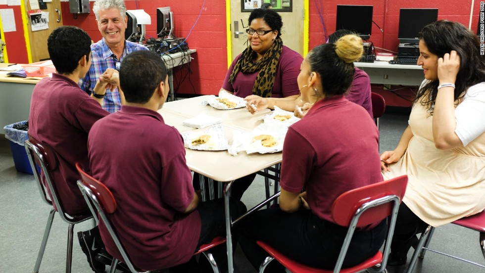 Bourdain sits in for lunch as students from the Bronx Academy of Letters chow down on their neighborhood staple, chopped cheese.