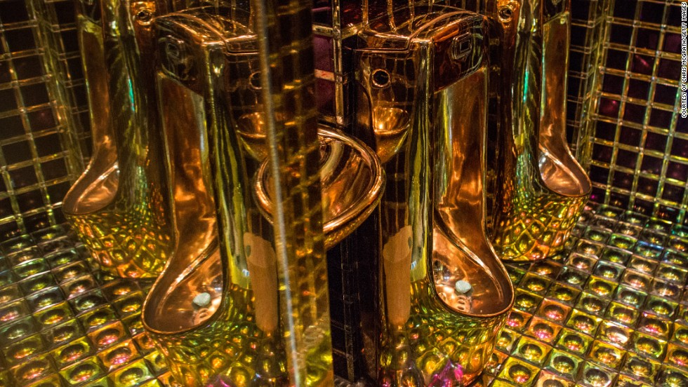 Gold colored urinals are seen in the men's bathroom at The Robot Restaurant in Tokyo, Japan. The now famous Robot Restaurant opened two years ago in Kabukicho area of Shinjuku at an estimated cost of 10 million U.S. dollars.