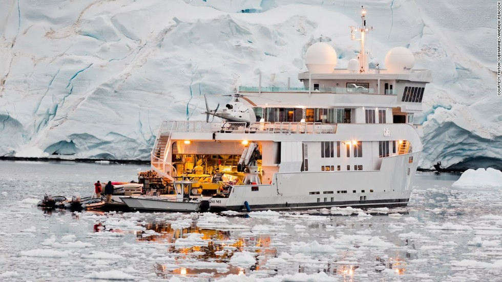 The sub can be loaded onto a superyacht, such as this one pictured during an expedition to Antarctica.