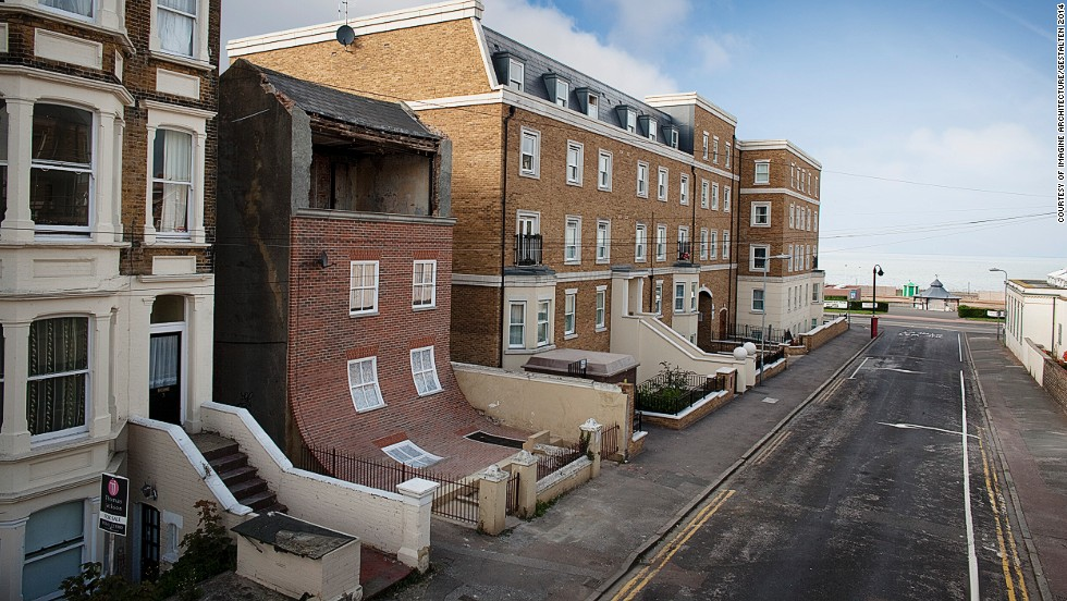 <em>From the Knees of my Nose to the Belly of my Toes by Alex Chinneck, Photography: Alex Chinneck & Stephen O'Flaherty</em><br /><br />British designer Alex Chinneck treats houses like fabric, pulling and draping the façade of buildings as if they were bed sheets. Seemingly sturdy and concrete builds transform into delicate, fragile structures.<br />