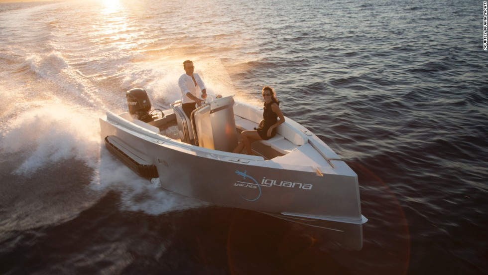 """People are very surprised when they see it,"" said the company's sales manager Steve Huppert. ""First they think the boat is going to crash. They they're opening their mouths when they see it walk onto land."""