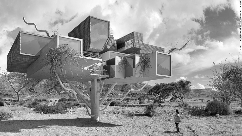 "<em>Interacciones by Dionisio González</em><br /><br />Interacciones is a series of retouched images where nature is fused with architecture. The result are futuristic habitats that stun with their realism, like the geometric tree house pictured. <br /><br />""Many artists today do not accept cities as they are"", says Feireiss, ""but create their own spaces, their own environment, and thereby their own cities. By doing so, novel ways of negotiating the potential of spatial practices can be discovered. "" <br />"