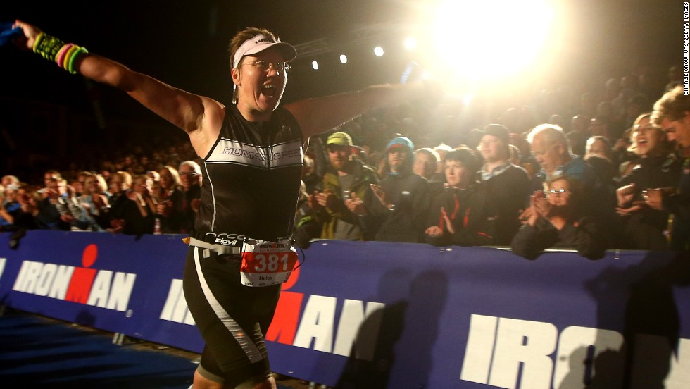 "Long into the night the final finishers cross the line at the Kalmar Ironman in Sweden, many hours behind the winners.  ""When you see them coming in after 15 hours or more I feel it almost adds to the sense of emotion and real achievement,"" says Crowhurst."