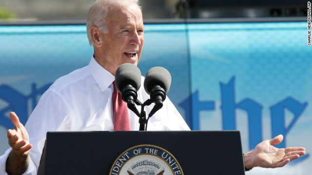 Vice President Joe Biden speaks during the kickoff of the Nuns on the Bus tour Wednesday in Des Moines, Iowa.