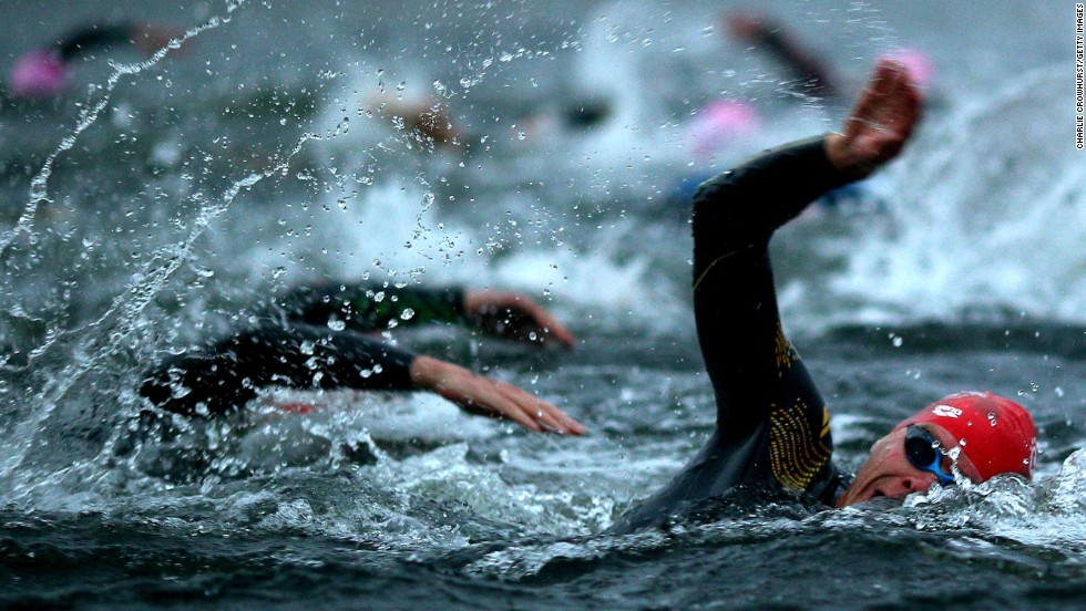 "Crowhurst uses different forms of transport to shoot the competitors, meaning he doesn't have to complete a triathlon himself. ""The best shots on the swim leg come if you are able to get in close on a boat,"" he revealed."