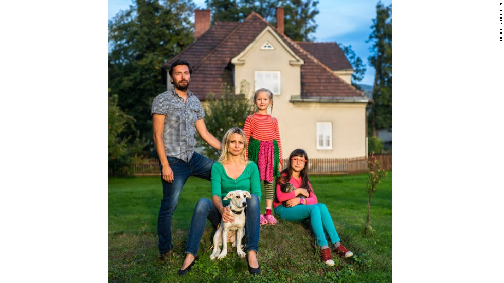 <strong>Pepe pictured at home this year with her real-life family.</strong>