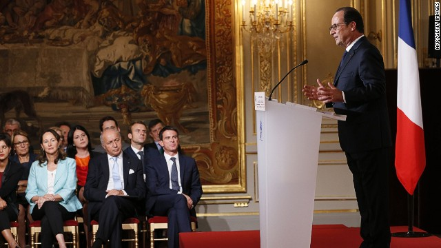 French president Francois Hollande (R) answers journalists during a press conference, as French Prime minister Manuel Valls (C), French Foreign Affairs minister Laurent Fabius (3dL), and French minister for Ecology, Sustainable Development and Energy Segolene Royal (2ndL) look on, on September 18, 2014 at the Elysee palace in Paris. AFP PHOTO PATRICK KOVARIKPATRICK KOVARIK/AFP/Getty Images
