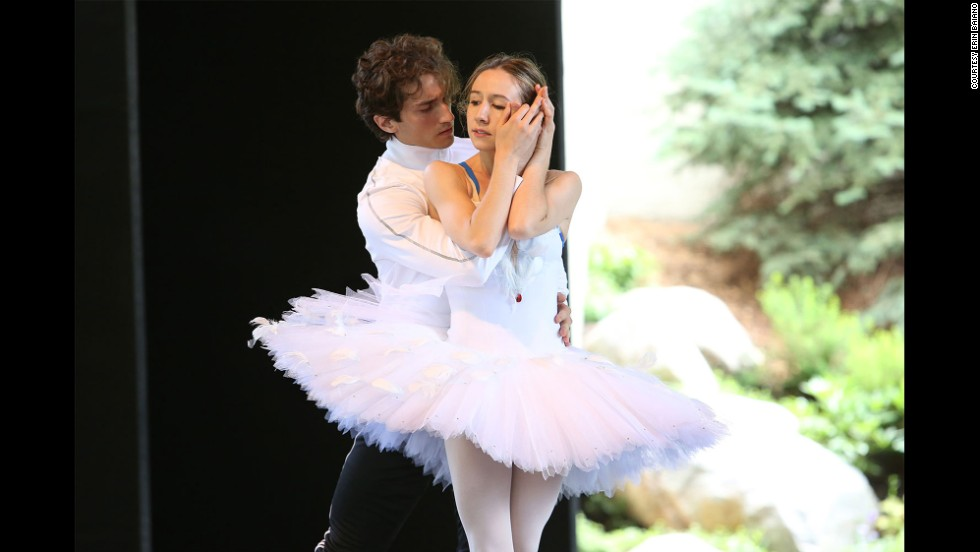 Rehearsing the white swan's pas de deux with Zach Catazaro at the Vail International Dance festival