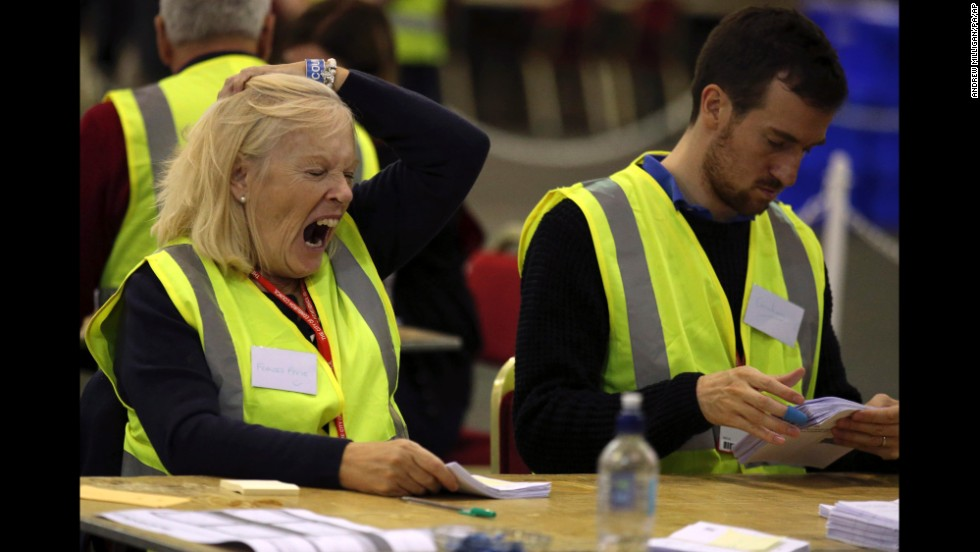 Ballot counting was tiring for staffers working through the night at the Royal Highland Centre in Edinburgh.