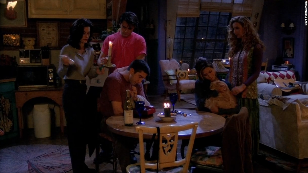 "<strong>""The One with the Blackout:"" </strong>Among the season 1 episodes, this one is a favorite. When there's a power outage in NYC, all the ""Friends"" except for Chandler gather at Monica and Rachel's apartment. Chandler, meanwhile is stuck in an ATM vestibule having a flirtation fail with model-of-the-hour Jill Goodacre. <a href=""https://www.youtube.com/watch?v=FvJIbvm596w"" target=""_blank"">""Gum would be perfection!""</a>"