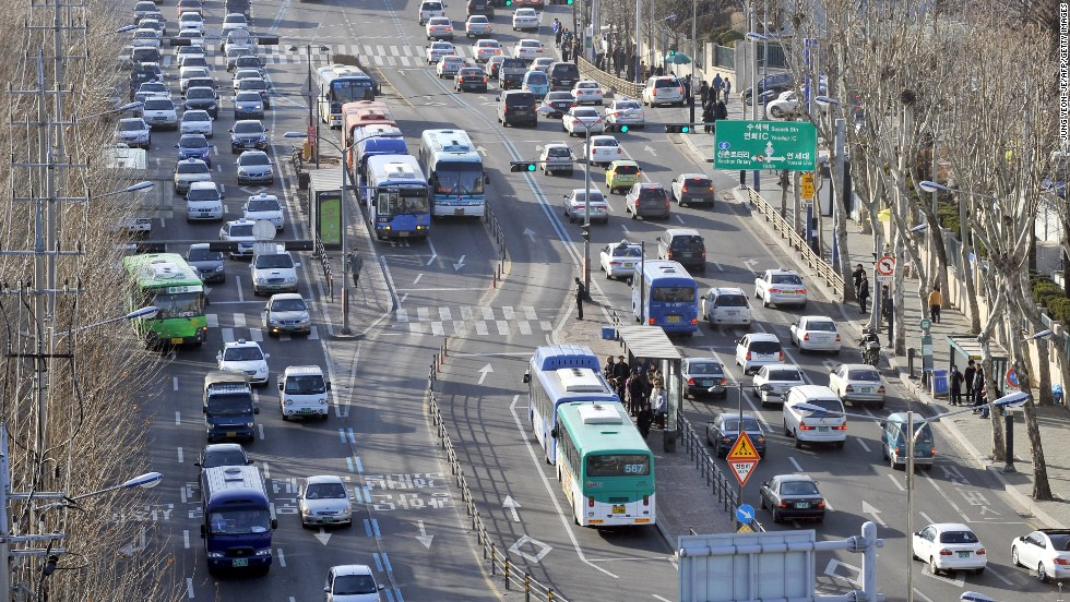 Buses are run along a central line in the Bus Rapid Transit (BRT) system in Seoul.