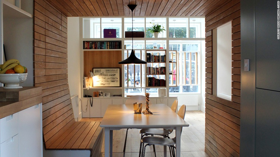 "This shop conversion from architects <a href=""http://daykinmarshall.com/"" target=""_blank"">James Daykin and Mark Marshall </a>(who themselves volunteered with Open House London in the early 2000s) is unique in its inclusion of the open window at the front of the house, and its creative dining booth."