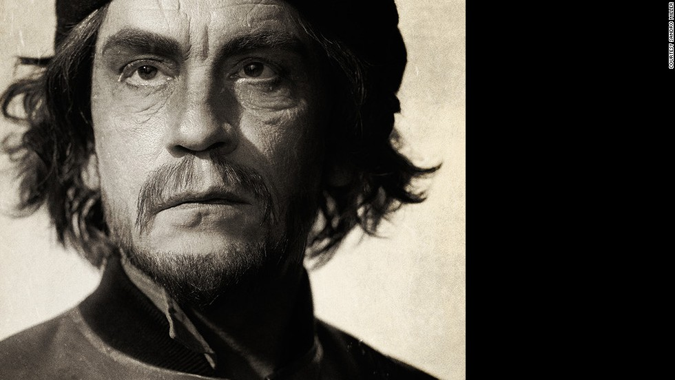 Malkovich poses as revolutionary figure Che Guevara. The iconic Guevara portrait was taken in 1960 by Alberton Korda.