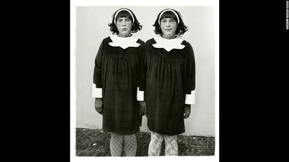 "Malkovich posed as both subjects in the re-creation of Diane Arbus' ""Identical Twins"" photo from 1967."