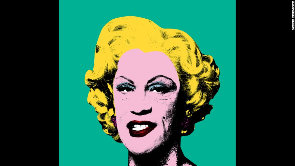"Malkovich transforms into Andy Warhol's ""Green Marilyn"" from 1962."