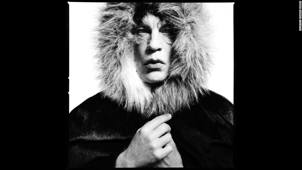"Bundled in a ""Fur Hood,"" Malkovich transforms into rocker Mick Jagger as Jagger was seen in David Bailey's 1964 portrait. <a href=""http://www.cnn.com/2013/09/01/world/gallery/iconic-images/"">Related: 25 of the most iconic photographs</a>"