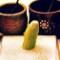Sushi eating wasabi