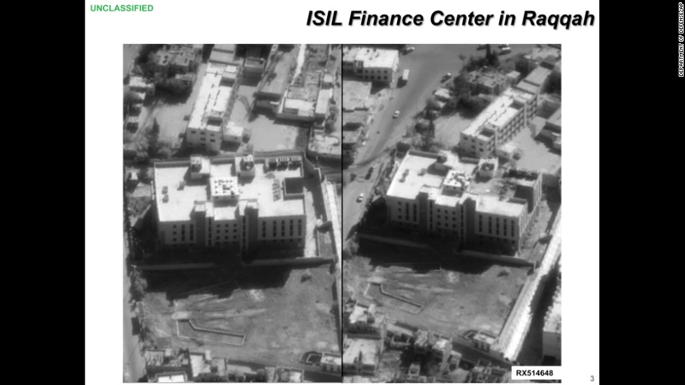 The Defense Department also released this before-and-after image of a purported ISIS finance center in Raqqa.
