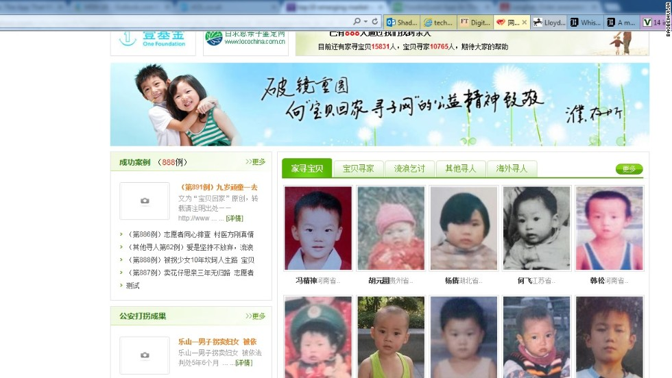 "In China, more than 20,000 children go missing each year, sold into slave labor, prostitution, or a life on the streets as beggars. Baobeihuijia -- or Baby Back Home -- uses face recognition technology to turn anyone with a smartphone into a search volunteer. So far, the site has had more than 680 successful reunions and more than 13,000 families have listed missing people. ""This site is an extension of a blog set up by Professor Yu Jianrong of the Chinese Academy of Social Sciences several years ago which was quite successful in reuniting missing children with their families,"" says Biggs."