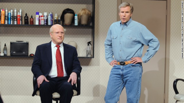 Darrell Hammond as Dick Cheney and Will Ferrell as George W. Bush in 2009.