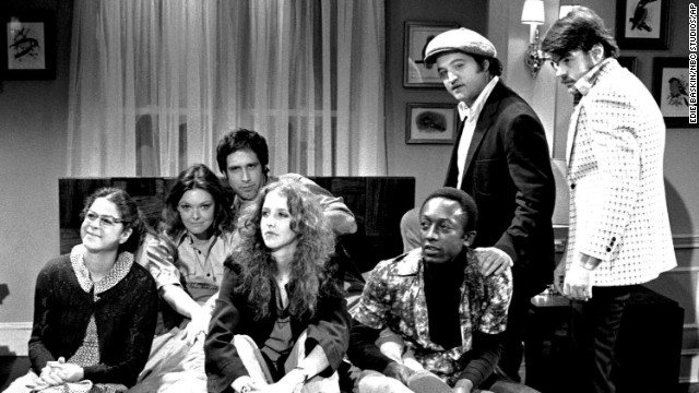 The originals, from left: Gilda Radner, Jane Curtin, Chevy Chase, Laraine Newman, Garrett Morris, John Belushi, Dan Aykroyd.