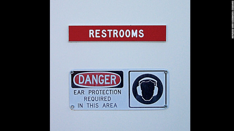 Is ear protection really required in this Sacramento, California, bathroom?<br />