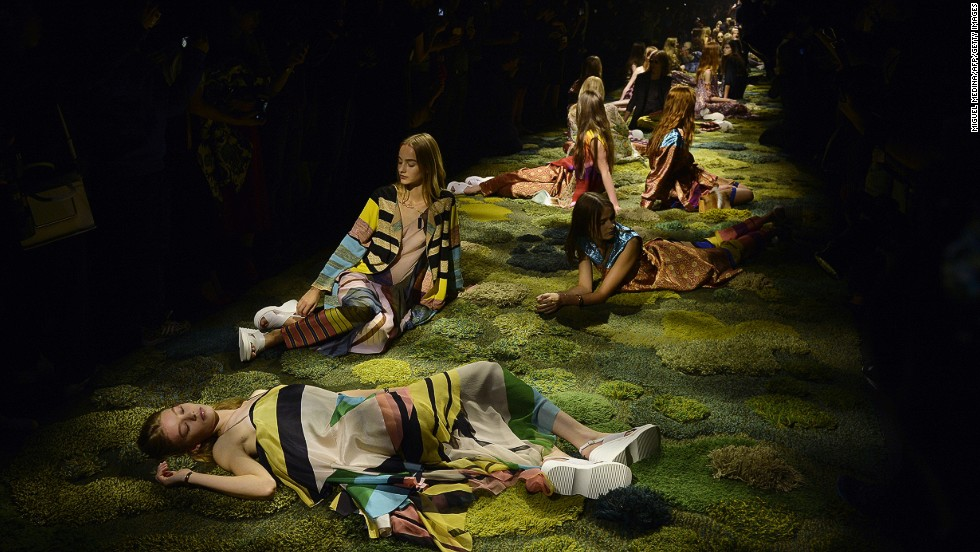 "At Dries Van Noten inspiration was John Everett Millais' haunting ""Ophelia,"" and Shakespeare's ""A Midsummer Night's Dream."""
