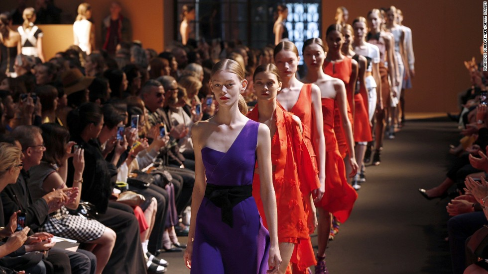 True to form, Roland Mouret delivered bright colors and flattering silhouettes for spring.