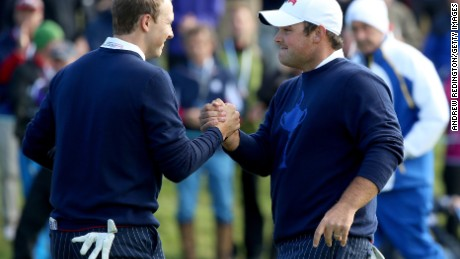 Jordan Spieth (left) playing alongside Patrick Reed at the 2014 Ryder Cup in Scotland.