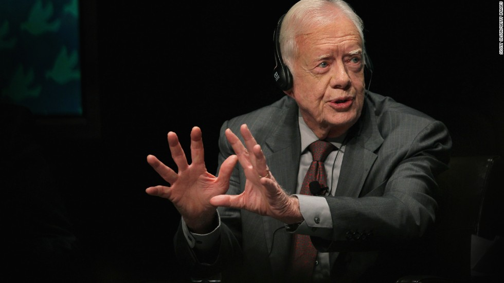 As part of the World Summit of Nobel Peace Laureates, Carter answers a question during a panel discussion at the University of Illinois in Chicago in April 2012.