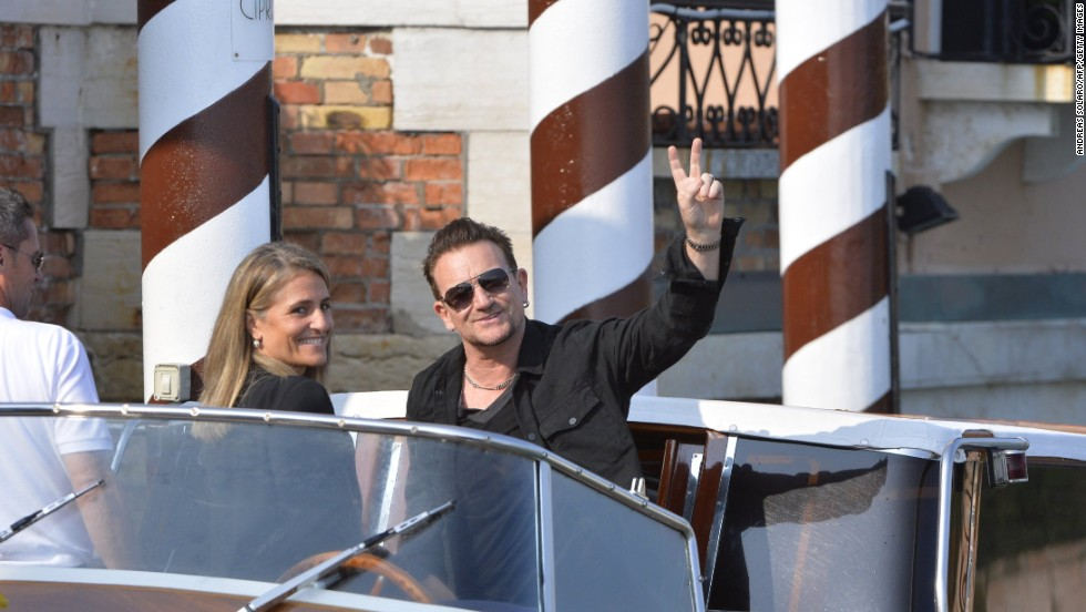 U2 frontman Bono arrives at the Hotel Cipriani.