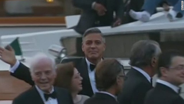 See George Clooney arrive at his wedding