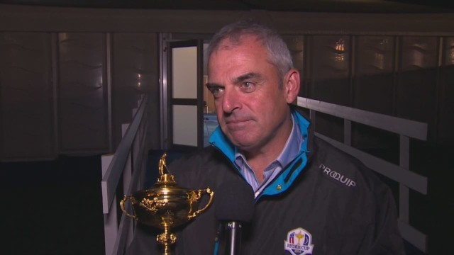 European team celebrates Ryder Cup win