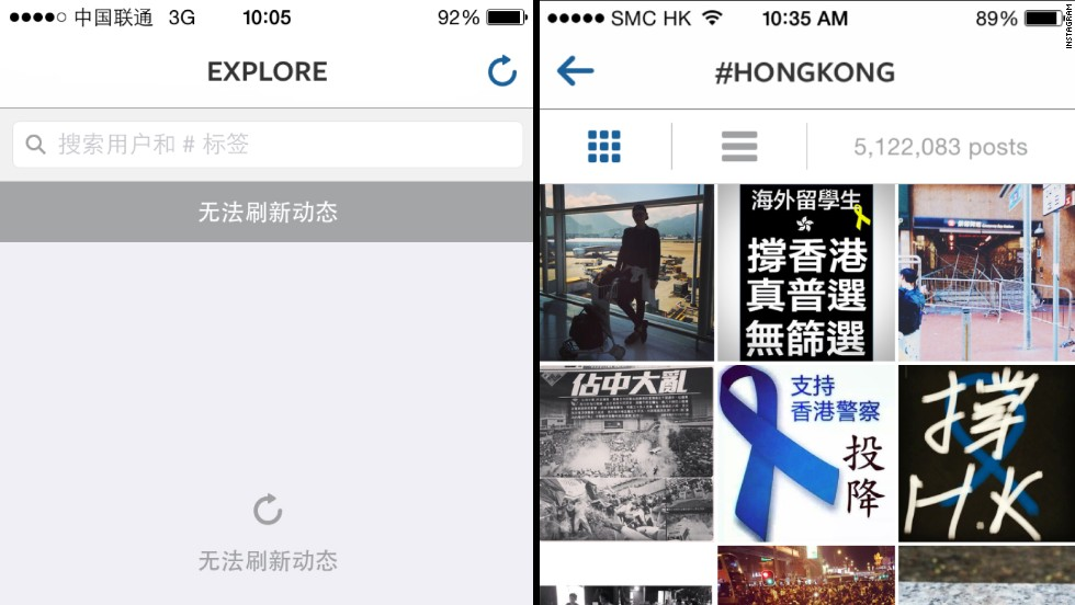 Instagram has been blocked in China since Sunday. The left picture shows Instagram in China with a message stating that the feed cannot be refreshed. The right side shows an Instagram search page in Hong Kong, which shows overtly political images related to the protests.