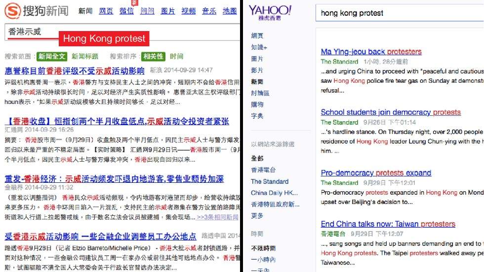 "Searching ""Hong Kong protest"" in the Chinese search engine Sogou (left) shows that most of the results are about the protest's impact on the economy and how it is affecting mainland Chinese tourists. Meanwhile, the Yahoo news search in Hong Kong shows more results about the protests. Yahoo and Google are the top search engines in Hong Kong."