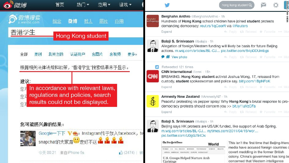 "China's microblogging site, Sina Weibo does not allow for the search of the term ""Hong Kong student."" The Weibo results shown below are not related to the Hong Kong protest or students' movement. The right picture shows the results on Twitter for the same search term, ""Hong Kong student."""