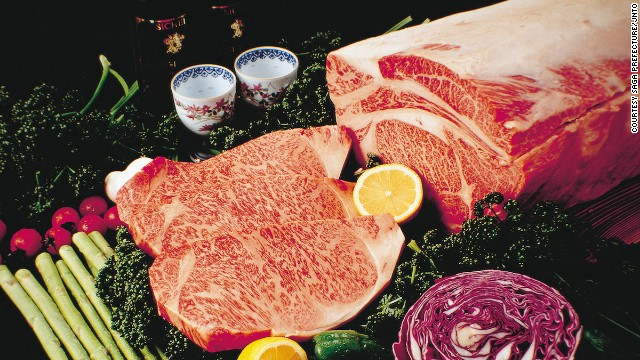 The marbled texture of Saga beef, from Kyushu, gets high marks in Japan and abroad.
