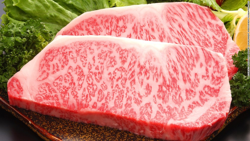 "Health-conscious eaters may be wary of the web of fat (called ""shimofuri"") woven through slabs of Wagyu. However, pure Wagyu beef contains mostly monounsaturated fatty acids rich in Omega-3s."