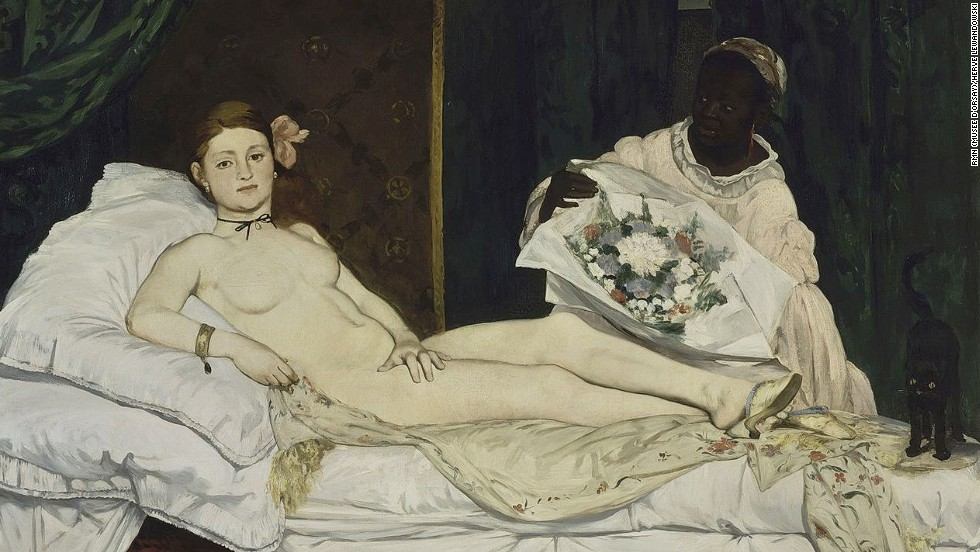 "<em>Olympia (1863), Édouard Manet</em><br /><br />What's controversial today may not be so tomorrow. While the female nude was by then a common subject for painters, even enlightened viewers were shocked by Édouard Manet's ""Olympia."" The presumed prostitute's almost defiant expression, directed at the viewer or an unexpected caller, and casual sexuality were considered pornographic at the time."