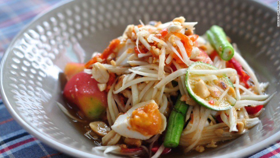 Som tum kai kem (papaya salad with salted egg) from Bangkok import Somtom Der, which serves northeast Thai cuisine.