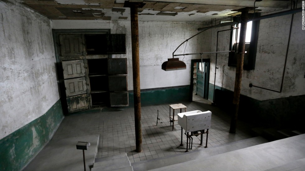 This photo shows the morgue of the Ellis Island hospital. The hospital opened to the public on Wednesday October 1, 2014.