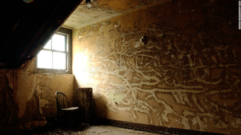 The remains of a room in the psychiatric ward as seen on a photo from 2003.