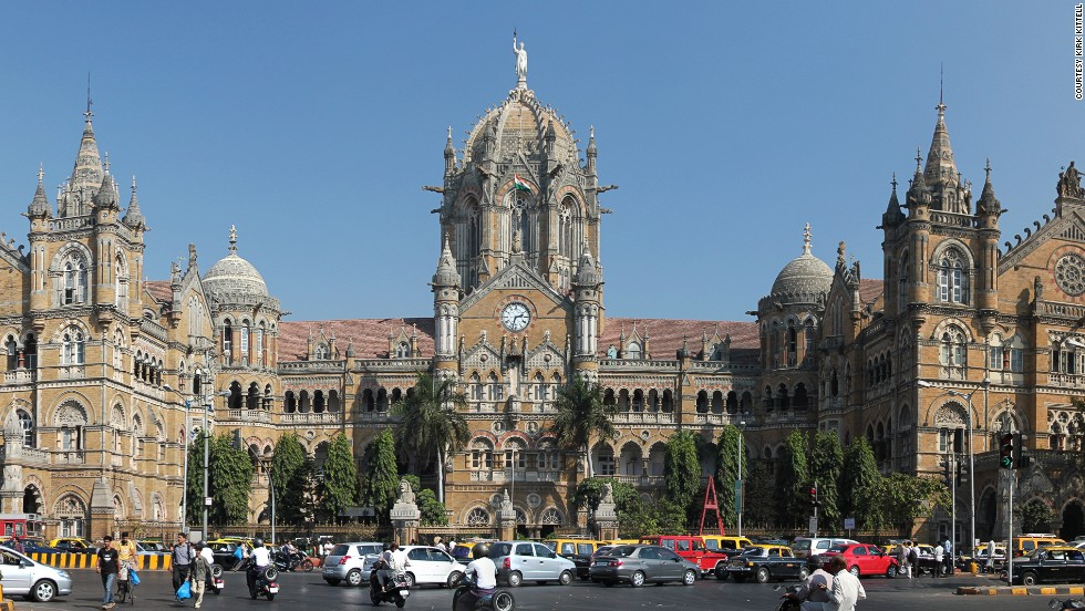 Chhatrapati Shivaji Terminus in Mumbai is India's busiest station and a UNESCO World Heritage site. The immense structure features a mixture of gothic turrets, stone domes and pointed arches.