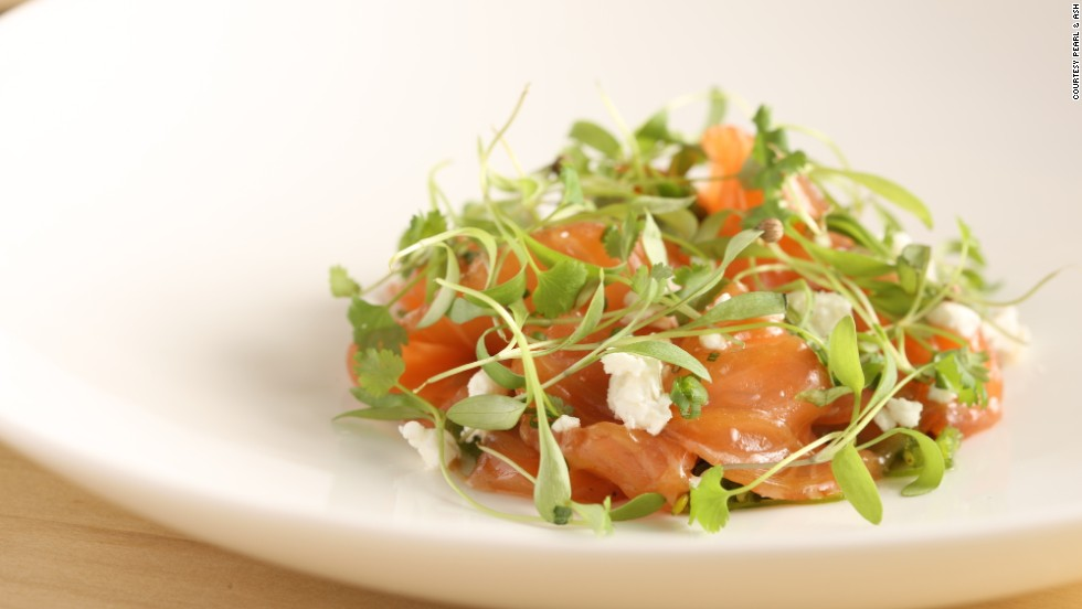 Tea cured salmon with goat cheese, tamarind and seaweed. On the menu at Manhattan's Pearl & Ash restaurant.