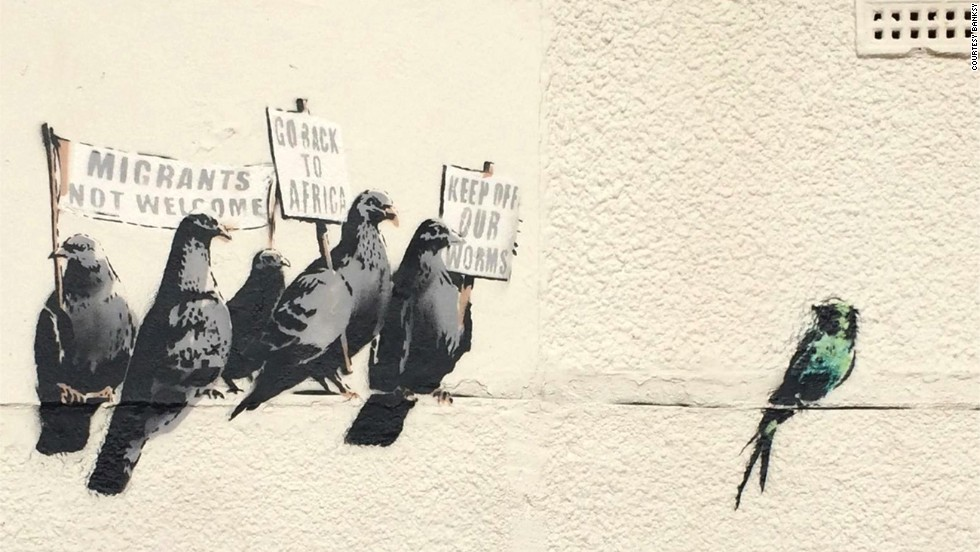 But not everyone is a fan. This Banksy mural depicting pigeons holding anti-immigration signs was destroyed by the local council in Clacton-on-Sea, England on October 1 after the council received complaints that the artwork was offensive.