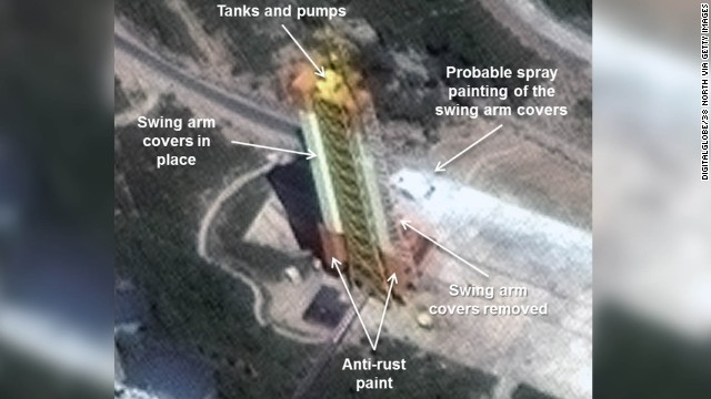 DigitalGlobe Imagery showing the enlarged gantry tower at North Korea's Sohae Satellite Launching Station.