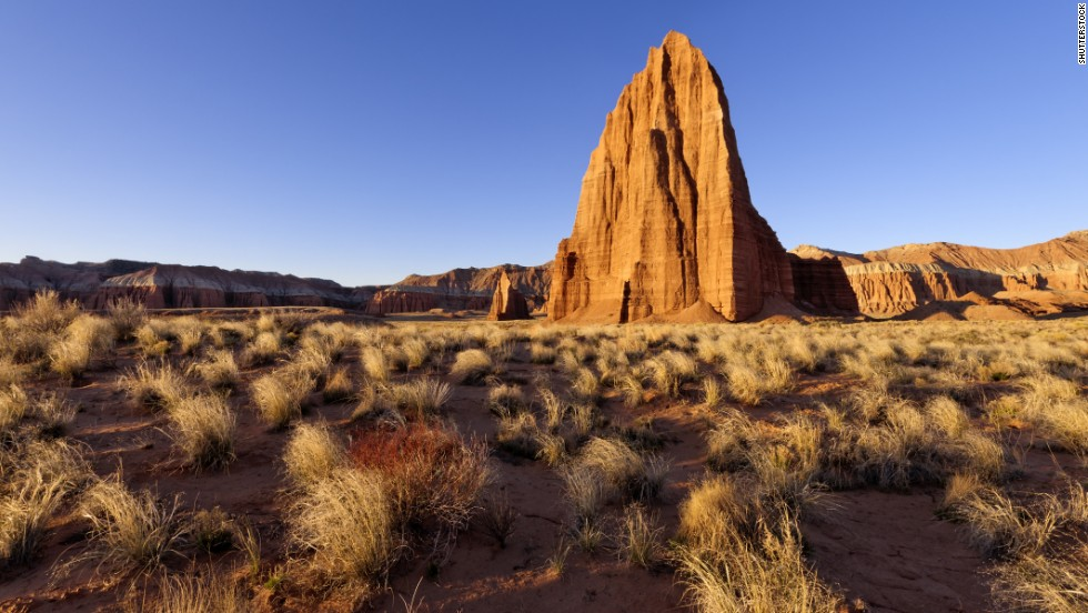 Temple of the Moon, a 400-foot-high sandstone monolith in the Cathedral Valley section of Capitol Reef National Park.