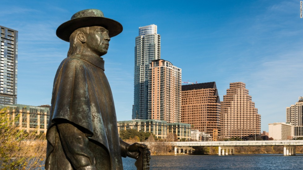 This area west of Austin and north of San Antonio known as Texas Hill Country boasts rugged hills, wineries, great barbecue and lively cowboy towns. Start your journey in Austin, the happening Texas capital with a thriving live-music scene. This statue, with downtown Austin in the background, honors blues musician and Texas blues legend Stevie Ray Vaughan.